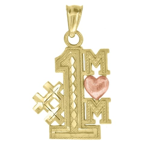 Curata 10k Two-tone Gold Womens Textured #1 Mom Heart Charm Pendant - Measures 22.3x13.10mm Wide