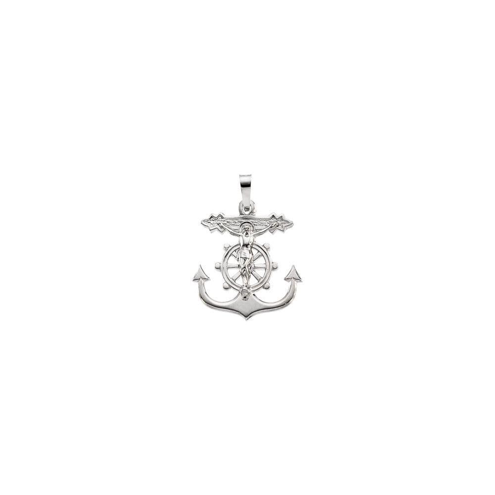 14k White Gold Mariners Cross Pendant