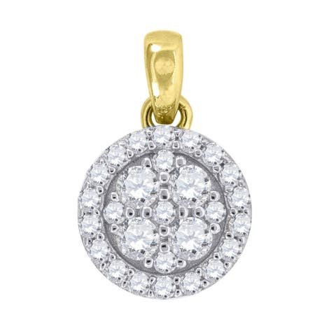 Curata 10k Gold Two-tone Cubic Zirconia Womens Round Height 12.3mm X Width 8.1mm Charm Pendant