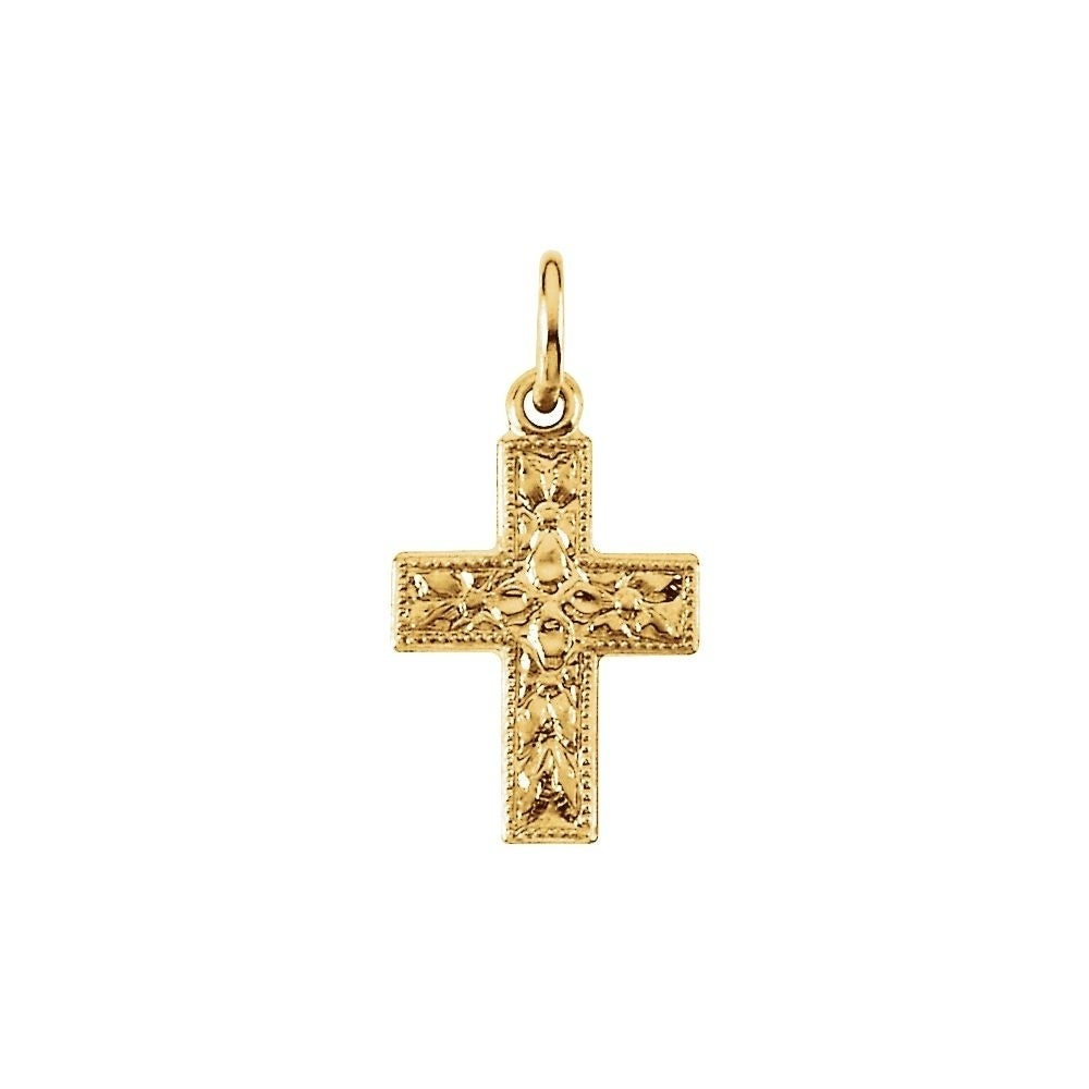14K Yellow Gold 24x17.5mm Cross Pendant