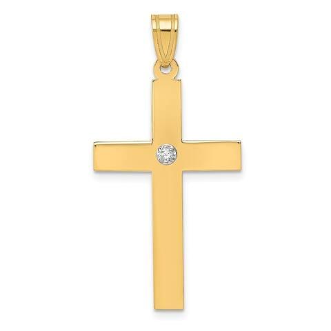 Curata 14k Yellow Gold Solid Prong set Flat back Polished back Polished .02ct. Diamond Cross Pendant
