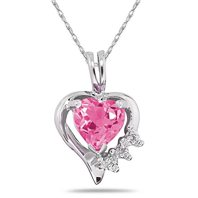 Marquee Jewels 10k Gold Pink Topaz and Diamond Heart ...