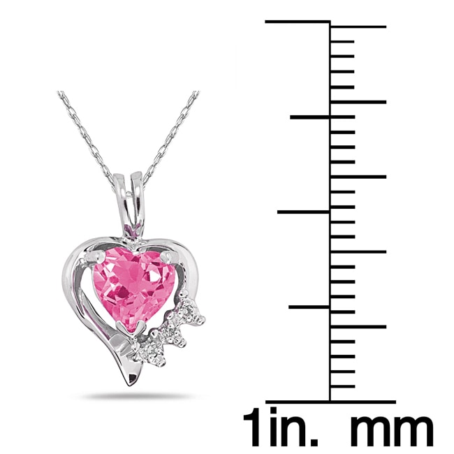 Marquee Jewels 10k Gold Pink Topaz and Diamond Heart Necklace - Thumbnail 1