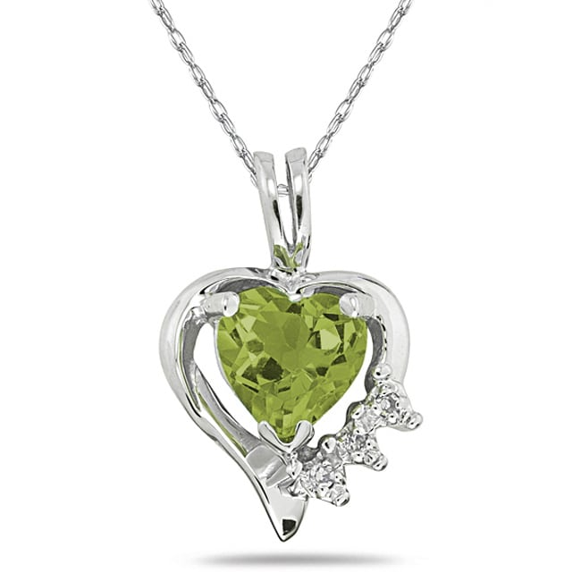 Marquee Jewels 10k White Gold Peridot and Diamond Heart Necklace - Thumbnail 0