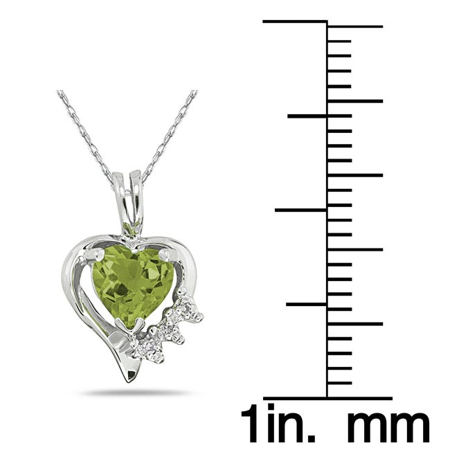 Marquee Jewels 10k White Gold Peridot and Diamond Heart Necklace - Thumbnail 1