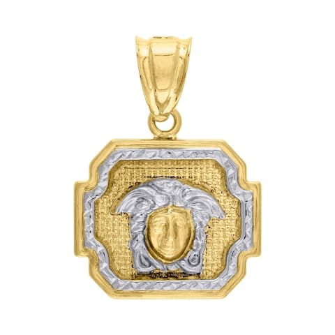 Curata 10k Gold Two-tone Dc Mens Versace Height 28.4mm X Width 20.1mm Charm Pendant