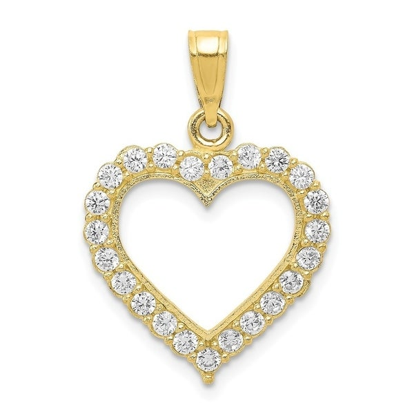 Curata 10k Yellow Gold Polished Cubic Zirconia Heart Pendant. Opens flyout.
