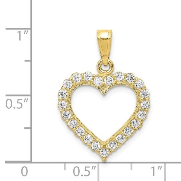 Curata 10k Yellow Gold Polished Cubic Zirconia Heart Pendant