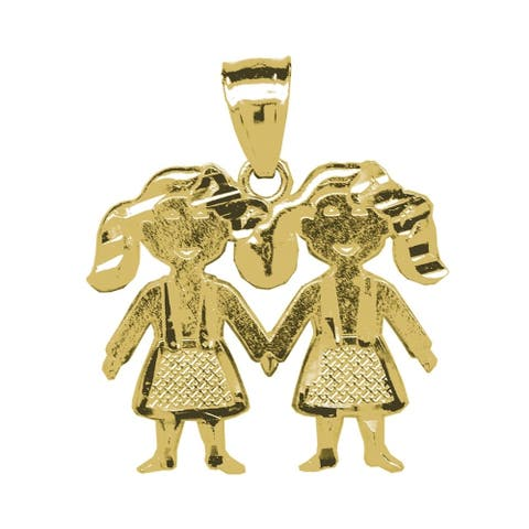 Curata 10k Gold Dc baby for boys or girls Twin Girls Height 20.6mm X Width 19.5mm Charm Pendant