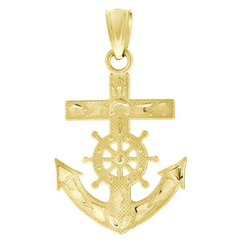 Curata 10k Yellow Gold Mens Textured Ship Anchor Charm Pendant - Measures 24.5x14.40mm Wide