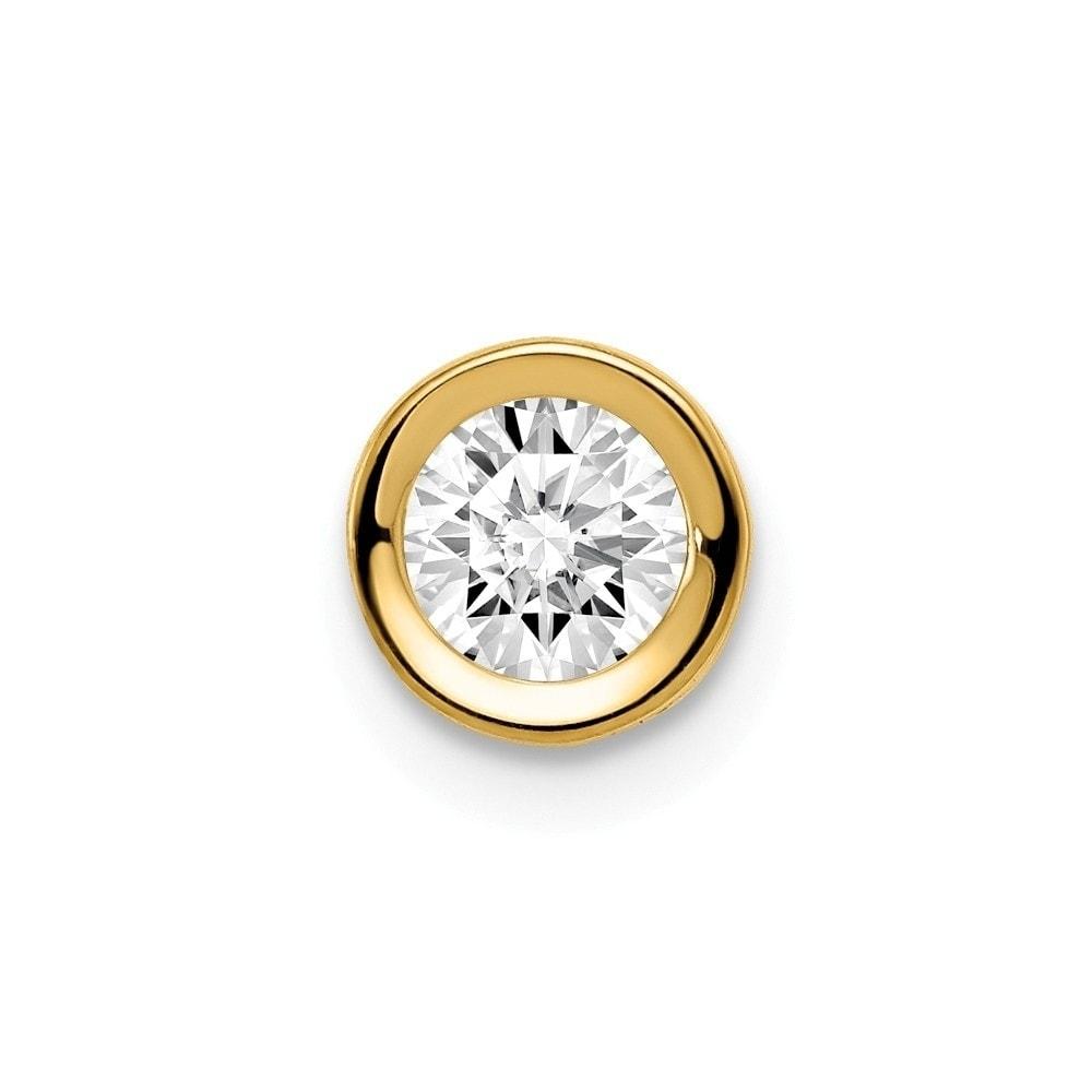 Solid 14k Yellow Gold 5mm Heart Cubic Zirconia CZ bezel Pendant Charm 10mm x 6mm