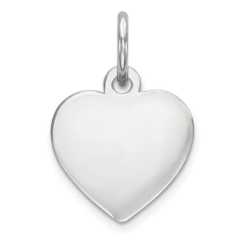Curata 14k White Gold Solid Polished Plain .009 Gauge Engraveable Heart Charm