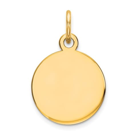 Curata 14k Yellow Gold Solid Polished Round Disc Charm