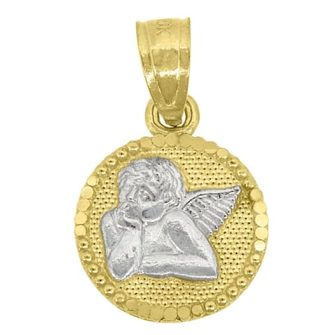 Curata 10k Two-tone Gold Mens Women Textured Cupid Angel Religious Charm Pendant - Measures 15.7x9.90mm Wid