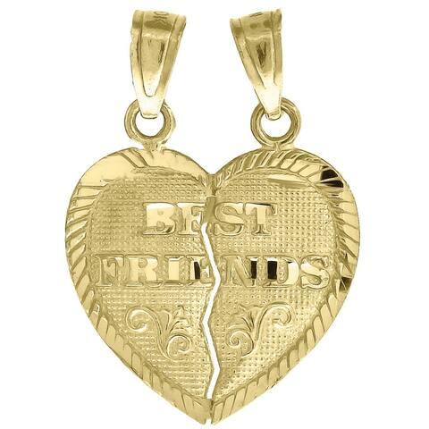 Curata 10k Gold Dc Unisex Best Friends Broken Height 21.3mm X Width 15.8mm Heart Charm Pendant