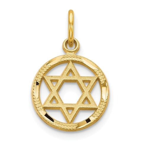 Curata 14k Yellow Gold Textured Sparkle-Cut Solid Polished Star Of David Charm - Measures 10x10mm