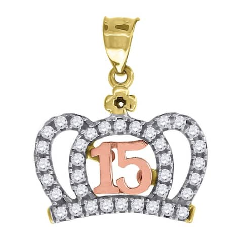 Curata 10k Gold Tri-color Dc Womens 15 Anos Height 16.3mm X Width 13.6mm Quinceanera Charm Pendant