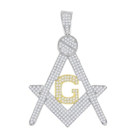 Curata 10k Two-tone Gold Unisex Cubic Zirconia CZ Freemason Masonic Charm Pendant - Measures 56.3x38.10mm W
