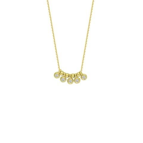 Curata 14k Yellow Gold 0.05 Dwt Diamond 5pc Round Charms Center Adjustable Necklace - 18 Inch