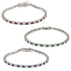 Kate Bissett Silvertone Colored Cubic Zirconia Tennis Bracelet