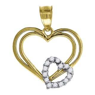 14K Two-Tone Gold Angel with Love Charm Pendant