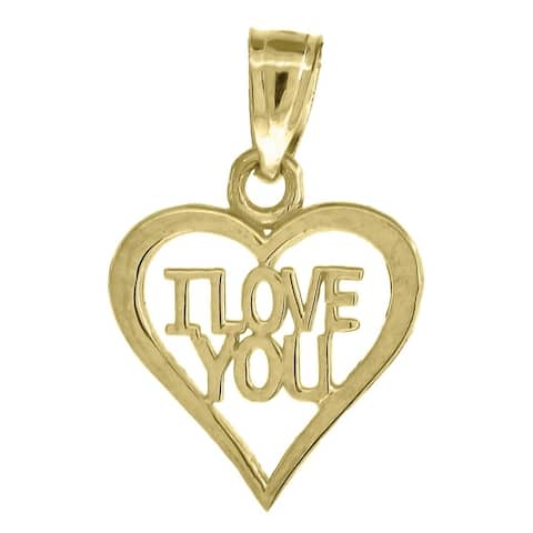 Curata 10k Gold Womens I Love You Height 17.6mm X Width 11.7mm Heart Charm Pendant