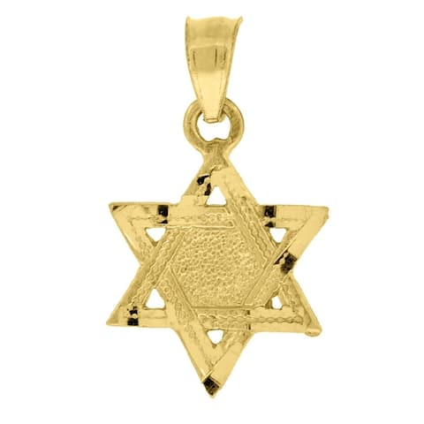 Curata 10k Gold Unisex Star Of David Height 19.5mm X Width 11.2mm Religious Charm Pendant