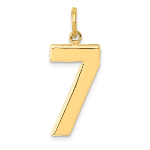 Curata 14k Yellow Gold Solid Textured back Large Polished Number 7 Charm - Measures 25.5x10.6mm