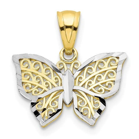 Curata 10k Yellow Gold Polished Sparkle-Cut Closed back Textured back and Rhodium Butterfly Charm