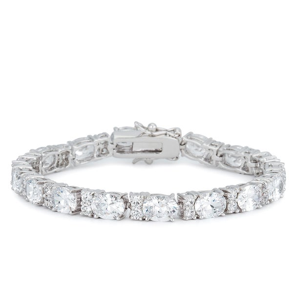 Kate Bissett Silvertone Oversized Oval CZ Tennis Bracelet