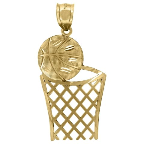 Curata 10k Yellow Gold Mens Basketball Sports Charm Pendant - Measures 41.3x19.80mm Wide