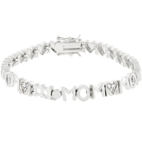 Kate Bissett Silvertone Cubic Zirconina #1 Mom Bracelet