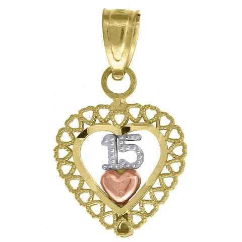 Curata 10k Gold Tri-color Dc Womens 15 Anos Heart Height 17.3mm X Width 10.6mm Quinceanera Charm Pendant