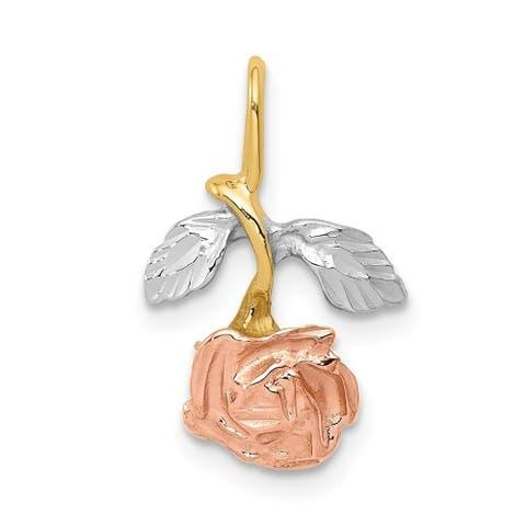 Curata 14k Tri-Color Solid Satin Polished Sparkle-Cut Gold Rose Charm - Measures 18x11mm