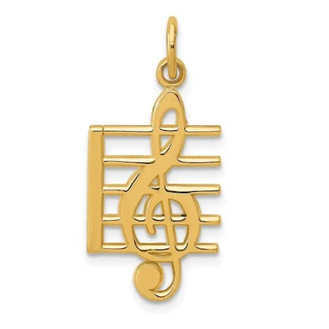 Curata 14k Yellow Gold Solid Music Note Charm