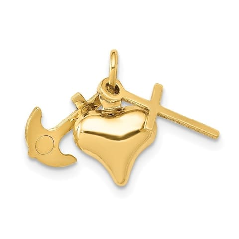 Curata 14k Yellow Gold Hollow Polished Faith Hope and Charity Charm - Measures 10x19mm