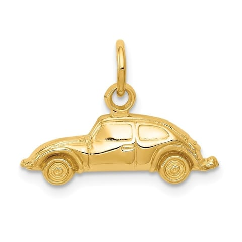 Curata 14k Yellow Gold Solid Polished Open back Car Charm - Measures 14.6x19.7mm