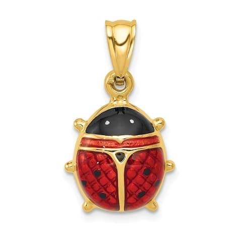 Curata 14k Yellow Gold Hollow Polished Enameled Ladybug Charm