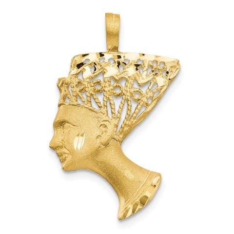 Curata 14k Yellow Gold Solid Satin Polished Filigree Nefertiti Charm - Measures 29.3x18.6mm