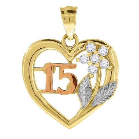 Curata 10k Gold Tri-color Cubic Zirconia Womens 15 Anos Height 19.2mm X Width 16mm Heart Charm Pendant