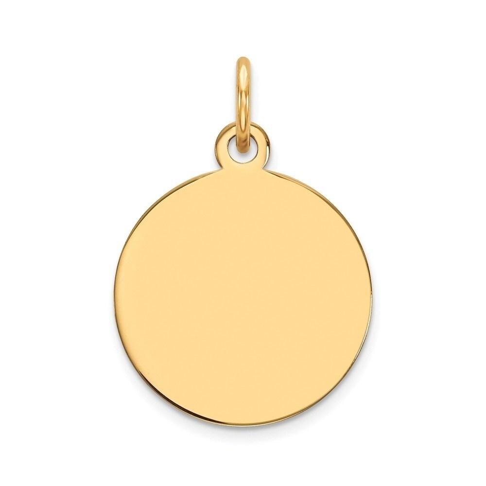 14K Yellow Gold Plain .009 Gauge Heart Engravable Disc Charm