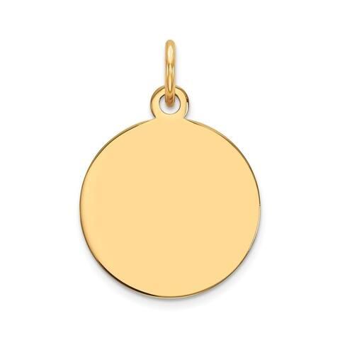 Curata 15mm 14k Plain .011 Gauge Circular Engravable Disc Charm