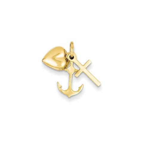 Curata 14k Yellow Gold Polished Heart Cross and Anchor Charm
