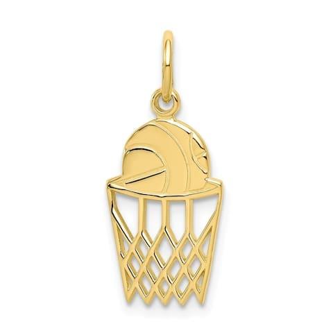 Curata 10k Yellow Gold Solid Polished BASKETBALL Charm