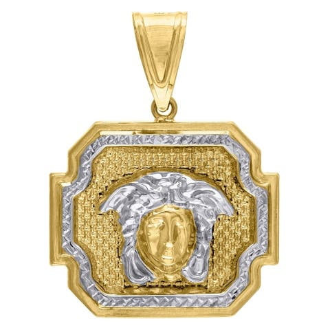 Curata 10k Gold Two-tone Dc Mens Versace Height 41.4mm X Width 30.1mm Charm Pendant