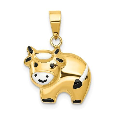 Curata 14k Yellow Gold Hollow Polished Enameled Cow Charm - Measures 17x15mm