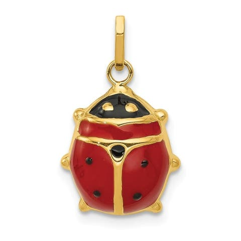 Curata 14k Yellow Gold Hollow Polished Closed back Enameled Ladybug Charm