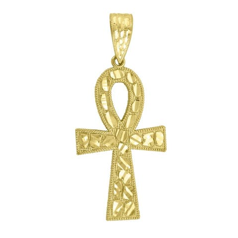 Curata 10k Yellow Gold Mens Women Nugget Textured Ankh Cross Religious Charm Pendant - Measures 59.2x25.80m