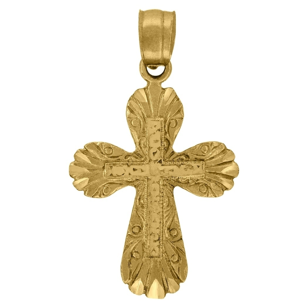 10k Gold Dc Unisex Cross Height 30.1mm X Width 17.5mm Religious Charm Pendant