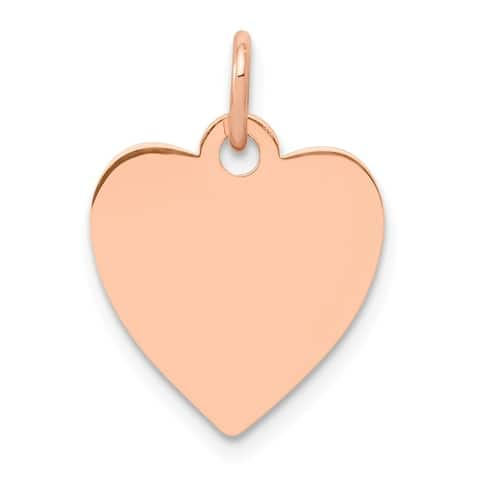 Curata 14k Rose Gold Solid Polished Engravable Heart Disc Charm - Measures 15x11mm